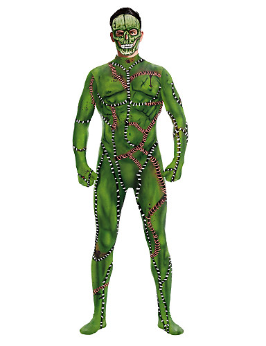 povoljno Maske i kostimi-Zombi Cosplay Nošnje Odrasli Muškarci One Piece Halloween Halloween Festival / Praznik Polyster Djetelina Muškarci Karneval kostime / Hula-hopke / Onesie