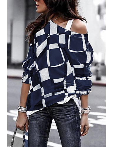billige Dametopper-T-skjorte Dame - Ruter Svart