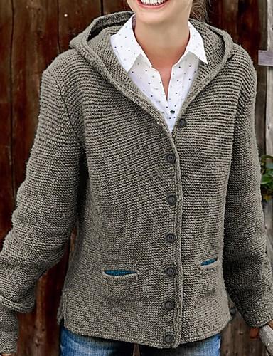 billige Kvinde Toppe-Dame Ensfarvet Langærmet Cardigan Sweater Jumper, Hætte Gul / Grøn / Grå S / M / L