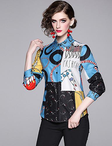 billige Skjorter til damer-Skjorte Dame - Geometrisk / Tegneserie / Bokstaver, Trykt mønster Vintage / Elegant Blå