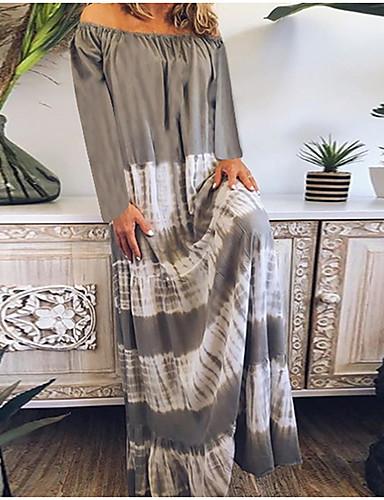 voordelige Maxi-jurken-Dames T Shirt Jurk - Gestreept Maxi