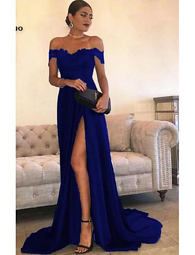 levne Maxi šaty-Dámské Swing Šaty - Jednobarevné Asymetrické Pod rameny