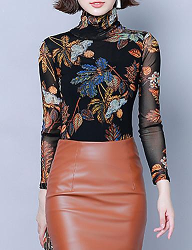 billige Dametopper-Skjorte Dame - Grafisk, Trykt mønster Vintage / Elegant Tropisk blad Blå