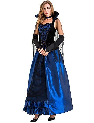 preiswerte Kostüme für Erwachsene-Vampire Kleid Cosplay Kostüme Party Kostüme Erwachsene Damen Cosplay Halloween Halloween Fest / Feiertage Tüll Baumwolle / Polyester Mischung Blau Damen Karneval Kostüme / Handschuhe / Neckwear