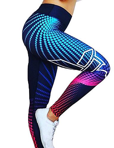 levne Fitness, běh a jóga-Dámské Vysoký pas Kalhoty na jógu 3D digitální potisk Černá Tmavě šedá Černá / stříbrná červená / bílá Zlatá Spandex Běh Fitness Gym workout Cyklistické kalhoty Legíny Sport Sportovní oděvy / Zima