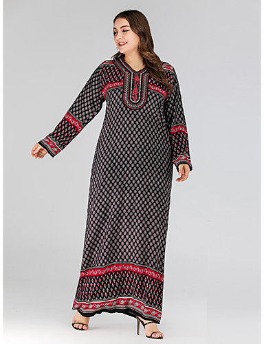 voordelige Maxi-jurken-Dames Vintage Standaard Recht Jurk - Bloemen, Geborduurd Maxi