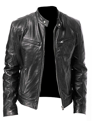 cheap Men's Outerwear-Men's Daily Basic Spring / Fall & Winter Regular Leather Jacket, Solid Colored Stand Long Sleeve Polyester Black / Brown