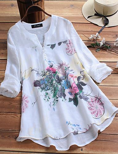 billige Skjorter til damer-Løstsittende V-hals Store størrelser Skjorte Dame - Blomstret, Trykt mønster Chinoiserie / Elegant Hvit