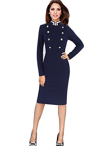 levne Pracovní šaty-Dámské Sofistikované Elegantní Shift Pouzdro Šaty - Jednobarevné Délka ke kolenům