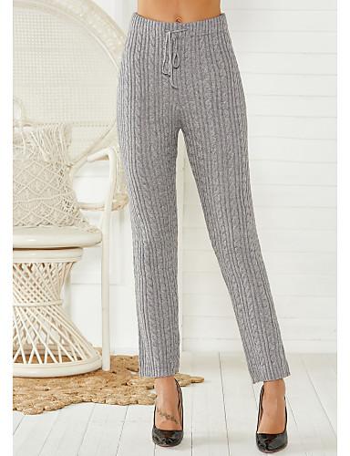 billige Tights til damer-Dame Vintage Rett Bukser - Ensfarget Strikket Bomull Svart Grå S M L