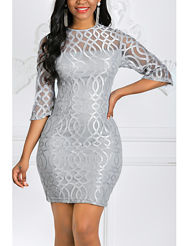 cheap Elegant Dress-Women's Plus Size Cocktail Party Elegant Mini Slim Bodycon Sheath Dress - Solid Colored Lace Spring Red Gray S M L XL
