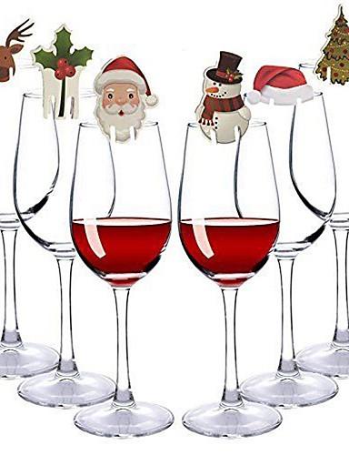 preiswerte Drinkware Zubehör-Zufällige Farbe der 30pcs / set Weihnachtsglaszeichenmarkierungsfahnenweihnachtshutzahnstochermarkierungsfahne