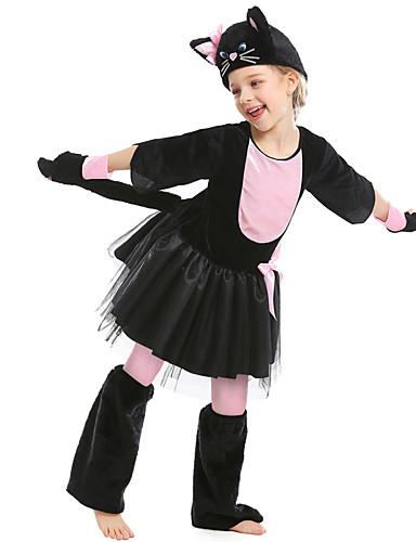 preiswerte Spielzeug & Hobby Artikel-Katze Haloween Figuren Kinder Jungen Halloween Halloween Fest / Feiertage Polyester Schwarz Karneval Kostüme / Mantel / Kleid / Handschuhe / Hut / Knieschützer
