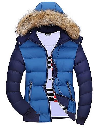 levne Pánské kabáty a parky-Pánské Barevné bloky S vycpávkou, Polyester Fialová / Žlutá / Námořnická modř US32 / UK32 / EU40 / US34 / UK34 / EU42 / US36 / UK36 / EU44