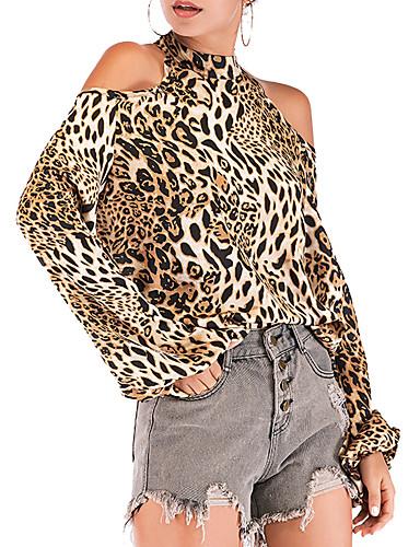 billige Skjorter til damer-Skjorte Dame - Leopard, Trykt mønster Vintage Brun