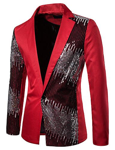 levne Pánské módní oblečení-Pánské Blejzr, Barevné bloky Košilový límec Polyester Černá / Rubínově červená