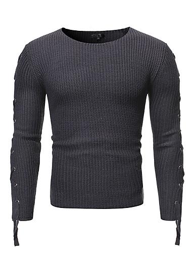 voordelige Heren T-shirts & tanktops-Heren Standaard T-shirt Geometrisch Zwart