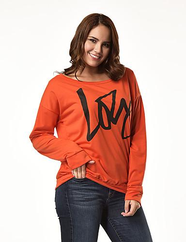 billige Dametopper-T-skjorte Dame - Bokstaver, Trykt mønster Grunnleggende Svart