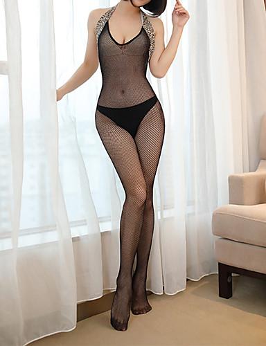 povoljno Ženska odjeća-Žene Mrežica Bodysuits Noćno rublje Jednobojni / Leopard Crn One-Size