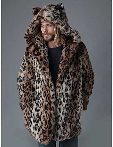 levne Pánské módní oblečení-Pánské / Není k dispozici Jdeme ven Zima Dlouhé Kabát, Leopard Kapuce Dlouhý rukáv Umělá kožešina Hnědá