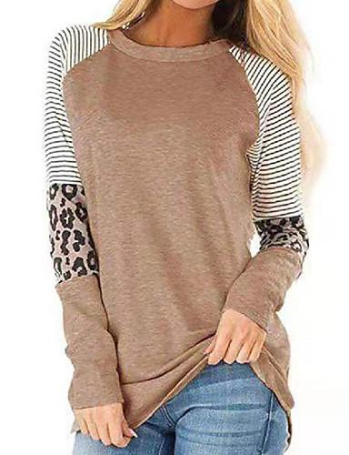 billige Dametopper-T-skjorte Dame - Leopard, Lapper / Trykt mønster Bohem Svart