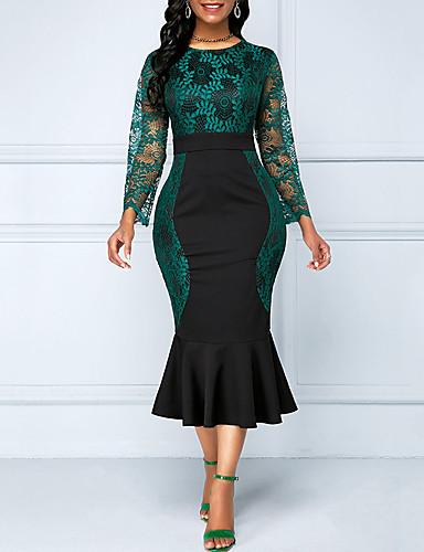 Жен. Русалка Платье - Однотонный Средней длины