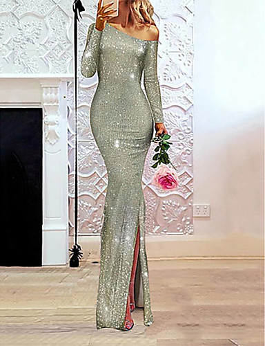 voordelige Maxi-jurken-Dames Elegant A-lijn Jurk - Effen, Pailletten Eén-schouder Maxi