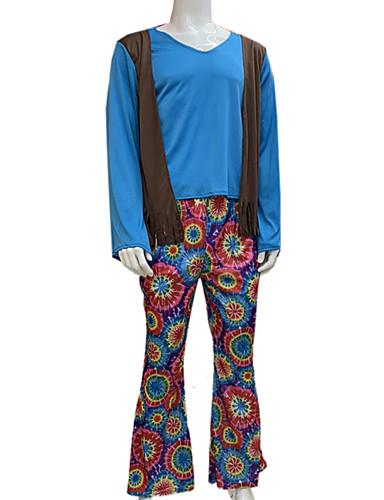 preiswerte Herrenbekleidung-Hippie Hosen Cosplay Kostüme Austattungen Party Kostüme Erwachsene Herrn Cosplay Halloween Halloween Fest / Feiertage Tüll Baumwolle / Polyester Mischung Blau Herrn Karneval Kostüme / Top