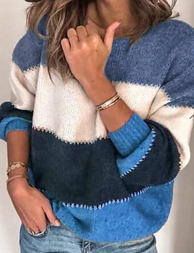 hesapli Kadın Üst Giyim-Kadın's Çizgili Uzun Kollu Kazak Kazak Süveter, Yuvarlak Yaka Mor / Ordu Yeşili / Havuz S / M / L