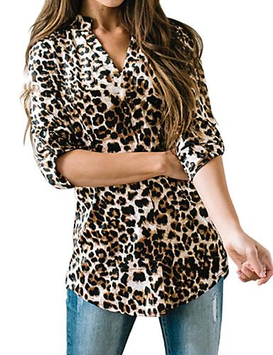 billige Skjorter til damer-Skjorte Dame - Leopard Grunnleggende / Gatemote Brun