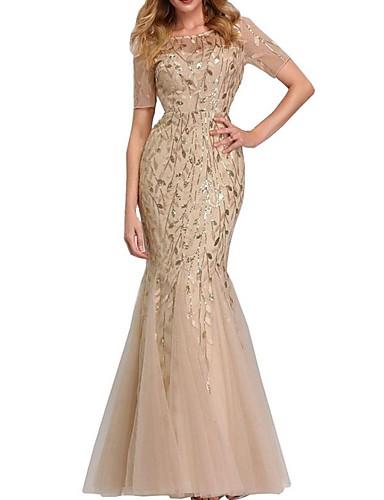 levne Maxi šaty-Dámské Mořská panna Šaty - Jednobarevné Asymetrické