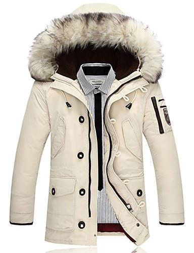 cheap Fur Trims-Men's Solid Colored Padded, Polyester Black / White / Orange US32 / UK32 / EU40 / US36 / UK36 / EU44 / US38 / UK38 / EU46
