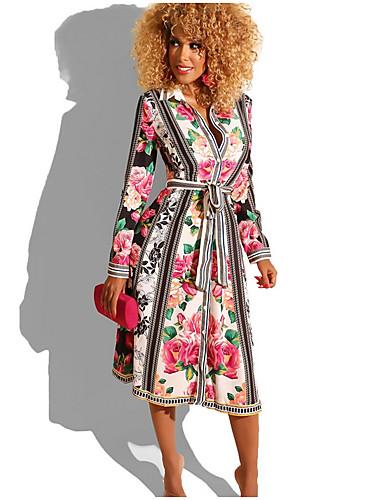 Жен. А-силуэт Платье - Цветочный принт Средней длины