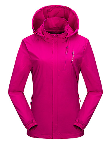 cheap Softshell, Fleece & Hiking Jackets-Wolfcavalry® Women's Hiking Jacket Outdoor Patchwork Thermal / Warm Waterproof Windproof Breathable Top Elastane Full Length Hidden Zipper Hunting Fishing Climbing Purple / Red / Fuchsia