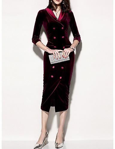 levne Pracovní šaty-Dámské Elegantní Bodycon Šaty - Jednobarevné Délka ke kolenům