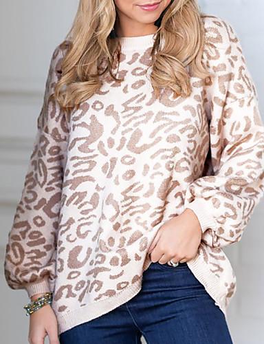 billige Dametopper-Dame Leopard Langermet Pullover Genserjumper Høst / Vinter Bomull Svart / Lilla / Kakifarget S / M / L