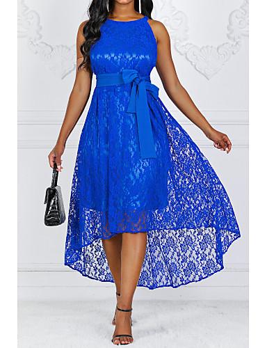 cheap Blue Dresses-Women's Cocktail Party Party Asymmetrical A Line Dress - Solid Colored Lace Spring Lace Black Wine Purple S M L XL Belt Not Included