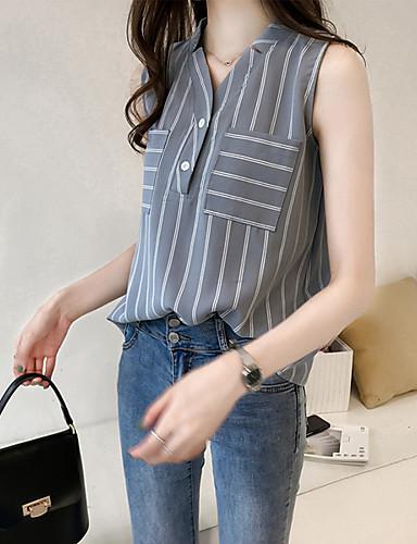 billige Dametopper-Bluse Dame - Stripet, Lapper Grunnleggende BLå & Hvit / Svart og hvit Hvit