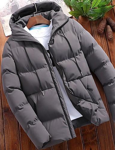 levne Pánské kabáty a parky-Pánské Jednobarevné S vycpávkou, Polyester Černá / Vodní modrá / Šedá US32 / UK32 / EU40 / US34 / UK34 / EU42