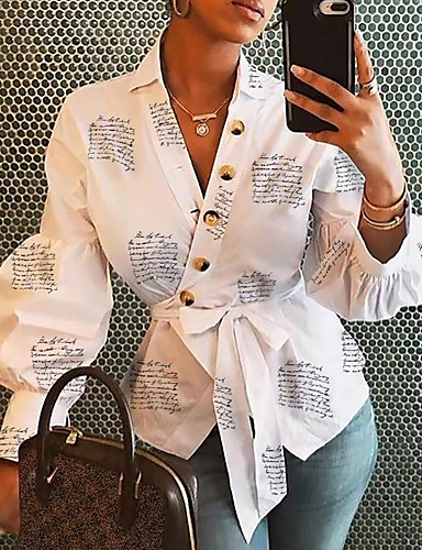 billige Skjorter til damer-Skjorte Dame - Blomstret Hvit