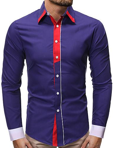 levne Pánské košile-Pánské - Barevné bloky Košile Černá