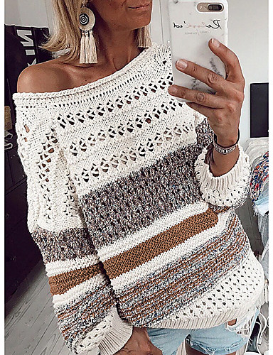 billige Dametopper-Dame Stripet Langermet Løstsittende Pullover Genserjumper, Rund hals Lilla / Blå / Brun S / M / L