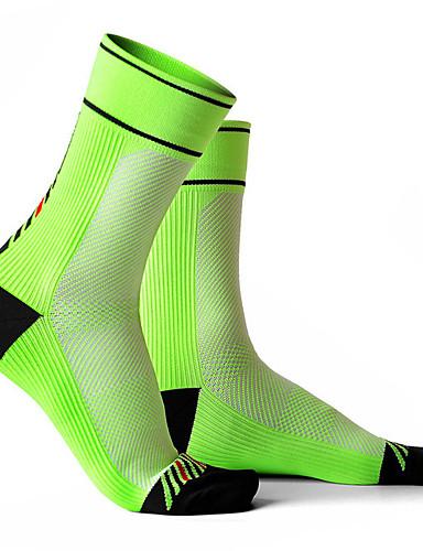 ราคาถูก Sport Socks-ถุงเท้า ถุงเท้าขี่จักรยาน สำหรับผู้ชาย สำหรับผู้หญิง การปั่นจักรยาน / จักรยาน Moisture Wicking แห้งเร็ว ออกแบบตามสรีระ 1 คู่ รูปเรขาคณิต Elastane สีดำ ขาว สีเขียว L / ยืด / Road Cycling