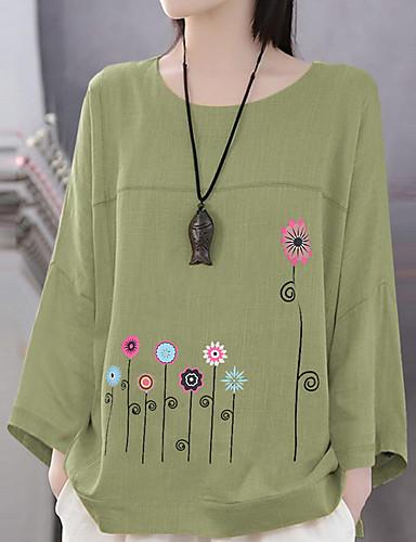 billige T-skjorter til damer-T-skjorte Dame - Blomstret, Trykt mønster Grunnleggende Hvit