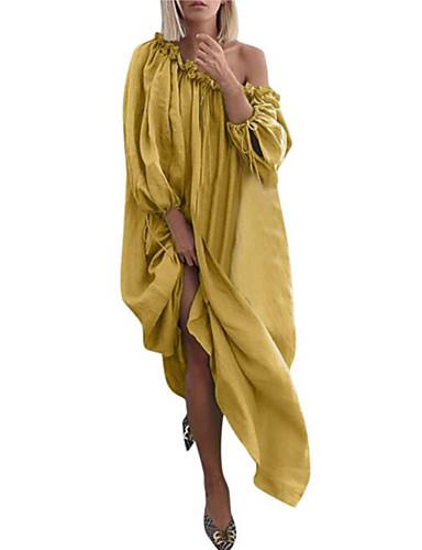 levne Šaty velkých velikostí-Dámské Šik ven Elegantní Shift Šaty - Proužky Geometrický, Plisé Tisk Maxi