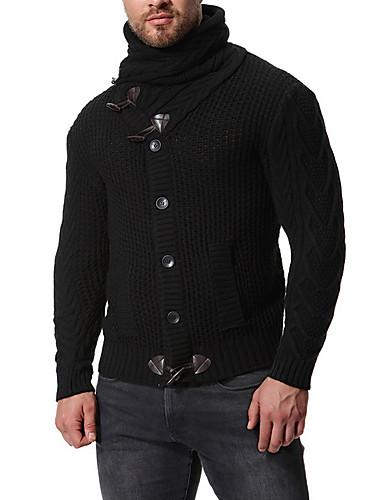 Férfi Egyszínű Hosszú ujj EU / USA méret Kardigán Pulóver jumper, V-alakú Fekete / Fehér / Szürke US36 / UK36 / EU44 / US38 / UK38 / EU46 / US40 / UK40 / EU48
