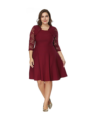 levne Šaty velkých velikostí-Dámské A Line Šaty - Jednobarevné, Patchwork Délka ke kolenům