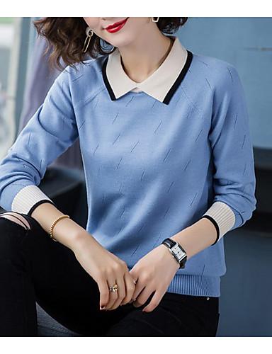 billige Dametopper-Dame Stripet / Ensfarget Langermet Pullover Genserjumper, Skjortekrage Svart / Lyseblå / Gul S / M / L