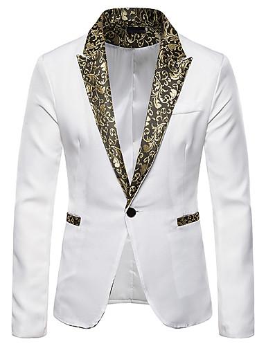 levne Pánské blejzry a saka-Pánské Blejzr, Jednobarevné Košilový límec Bavlna / Polyester Černá / Bílá