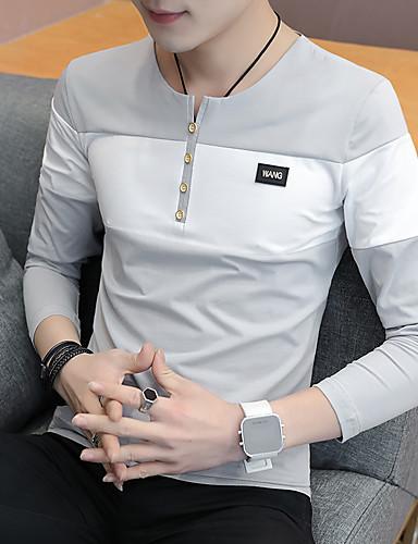 voordelige Heren T-shirts & tanktops-Heren Standaard Print T-shirt Geometrisch / Kleurenblok Wit